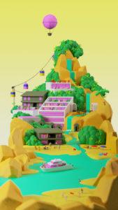 Animation, Interactive Installation, Davos, Google Cloud, WEF, Sam Southward, Islands, Snow